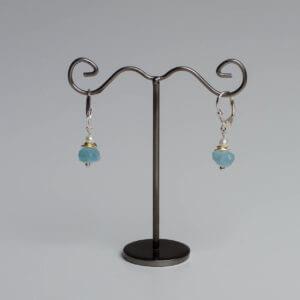 Ohrringe mit Aquamarin und Perle