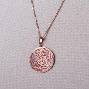 Zarte Kette rosévergoldet mit einem Kettenanhänger. Leicht und trotzdem ein schöner Hingucker. Durchmesser 3cm.