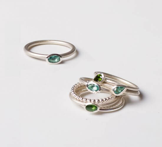 Stackable rings with Tourmaline, Stapelringe