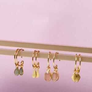 Minicreolen mit Stein in Silber oder Silber vergoldet. ab 29,90€